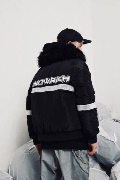 SHOW RICH MADE BY ABOW LIFE DETACHABLE HOODED REVERSIBLE BOMBER JACKET - boopdo