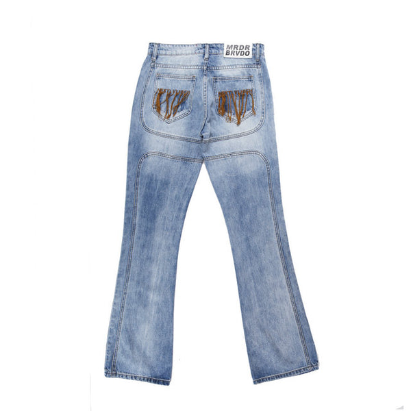 DENIMO KERRY CROPPED WASHED DENIM JEAN PANTS IN BLUE - boopdo