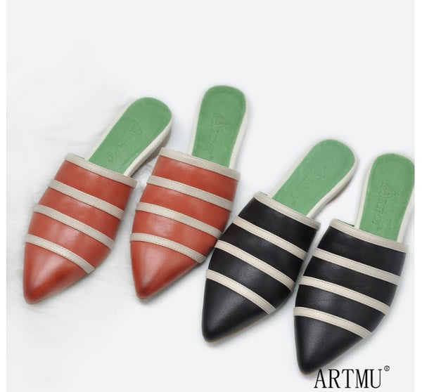 ARTMU STRIPED POINTED TOE FLAT MULES - boopdo