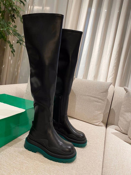 MAX MARTINO BVPY CHUNKY SOLE PLATFORM KNEE HIGH CHELSEA BOOTS - boopdo
