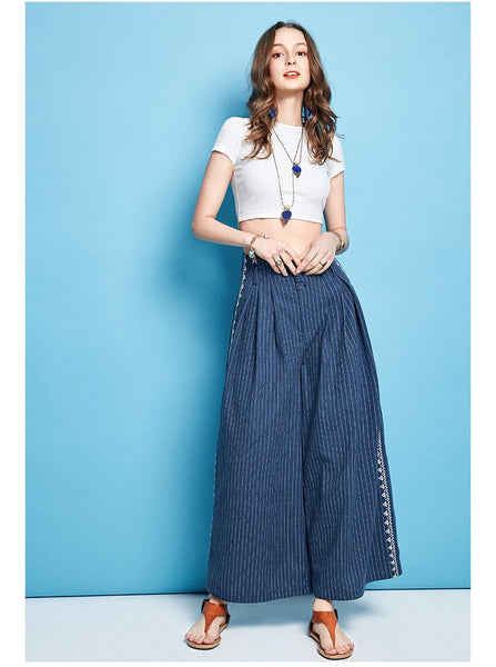 ARTKA WIDE LEG CROPPED STRIPE PANTS