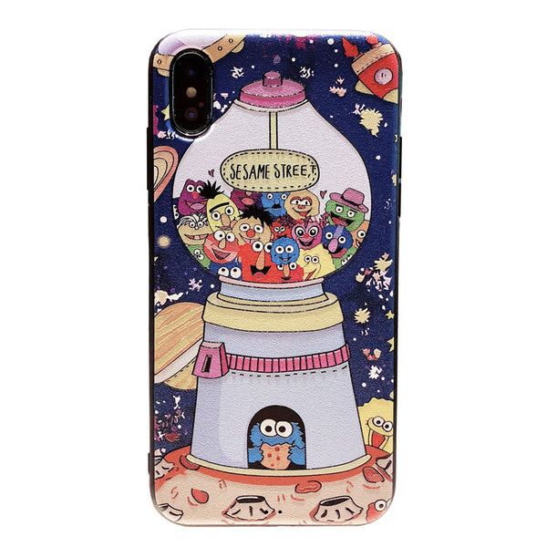 SESAME STREET SNOOPY SPACE CARTOON PRINT SILICONE IPHONE CASE - boopdo