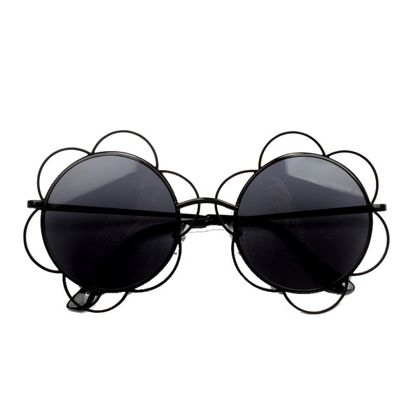 FLOWER SHAPED ROUND FRAME BEACH SUNGLASSES - boopdo
