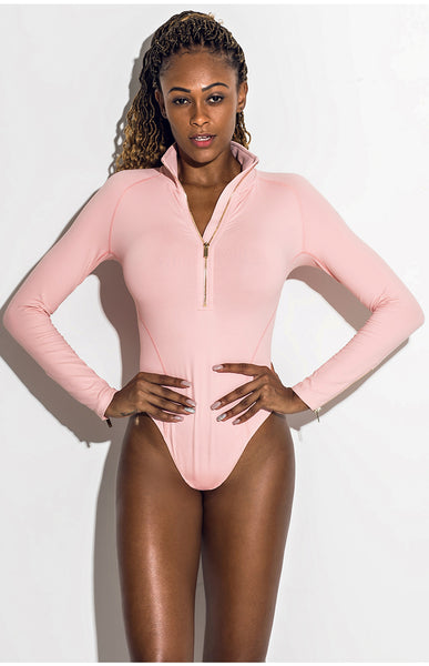 ELITE ABS SPORTS LONG SLEEVE BODY WITH NECK ZIP V18404 PINK BLACK WHITE - boopdo