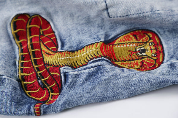 TEXANS MONORZA COBRA PRINT WATCH FOR SNAKES DENIM JEAN PANTS - boopdo