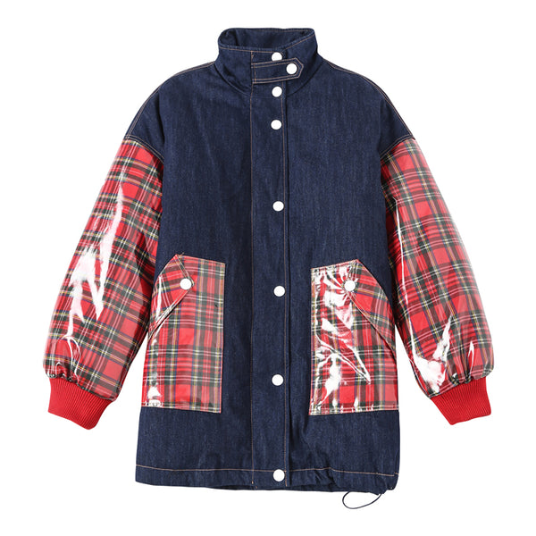 MAXMARTIN DARKBLUE OVERSIZE DENIM PADDED JACKET WITH RED CHECK DESIGN M83994R54 - boopdo