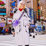 MAXMARTIN FAUX FUR HOOD IN WHITE PUFFER COAT WITH BIG POCKET DESIGN M84345R54 - boopdo