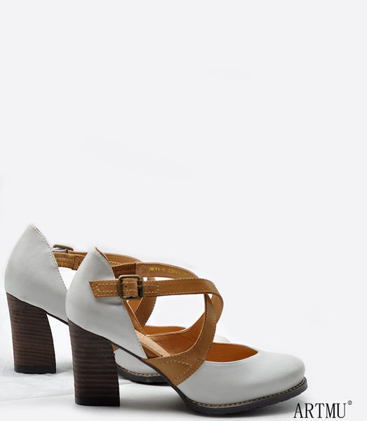 ARTMU VINTAGE INSPIRED CROSS STRAP HEELED SHOES IN WHITE