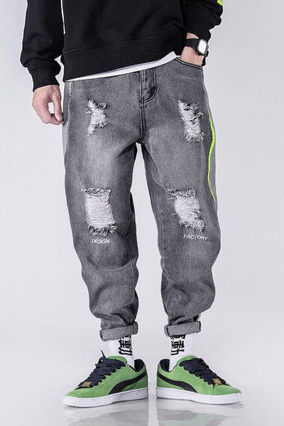 BRETTA RHYMONSTER DOPEFISH RIPPED DENIM JEAN SWEATPANTS