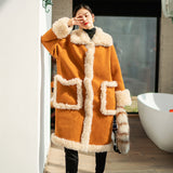 8GIRLS DESIGN OVERSIZE BORG LINED FAUX SUEDE COAT - boopdo