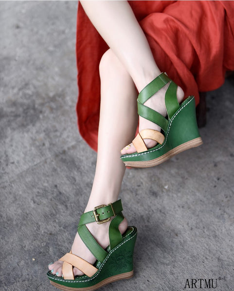 ARTMU CROSS STRAP HIGH WEDGES IN GREEN - boopdo