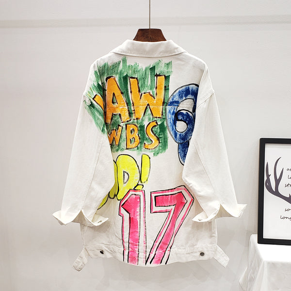 CANTO HENZA HANDMADE GRAFFITI HAND PAINTED DENIM JEAN JACKET IN WHITE - boopdo