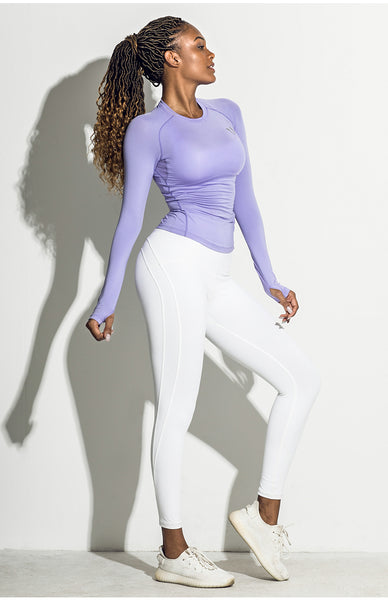 ELITE ABS STRETCH LONG SLEEVE SPORTS TOP IN LAVENDER V18415 - boopdo