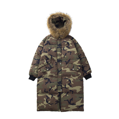 ABLARZO SNAP LOOK CAMOUFLAGE LONG COTTON HOODED JACKET