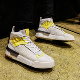 NADMIL DESIGN LEATHER HI TOP TRAINERS NI WHITE AND YELLOW