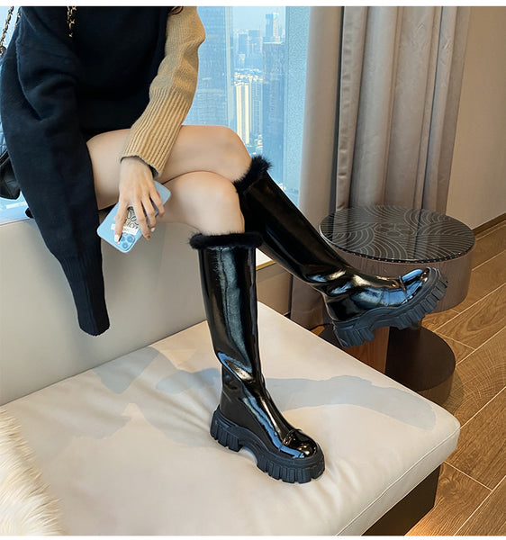 DAIZO MARTIN MCQUEEN CHUNKY SOLE KNEE HIGH WINTERIZED BOOTS - boopdo