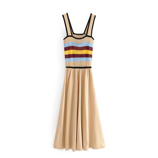 BOOPEXLIA CONTRAST COLOR STRIPED WOVEN KNIT SUMMER DRESS - boopdo
