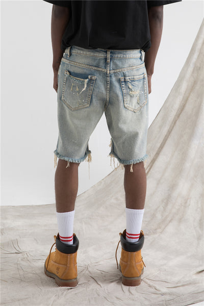 WANGZO DENGZO RIPPED WASHED DENIM JEAN SHORT PANTS - boopdo