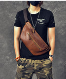 TWENTY FOUR STREET DUAL USE CHEST MESSENGER LEATHER BAG IN COFFEE COLOR - boopdo