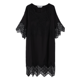8GIRLS DESIGN BLACK SMOCK DRESS WITH LACE DETAIL - boopdo