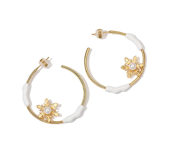 ZEGL HOOP EARRINGS IN SNOW FLAKE DESIGN