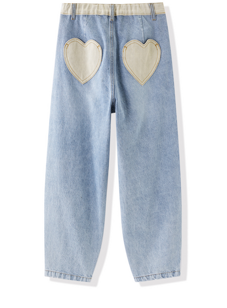LEDDIN DESIGN BALLOON LEG BOYFRIEND JEANS IN VINTAGE WASH BLUE