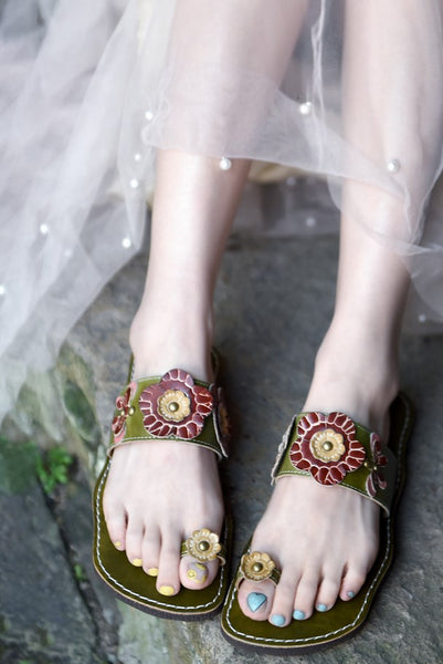 ARTMU WIDE FIT BEADED EMBELLISHED FLAT SANDALS