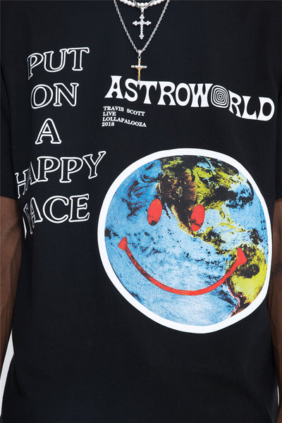 VANG NAGRO ASTRO WORLD SMILEY FACE HIPSTER CREW NECK TEE SHIRT