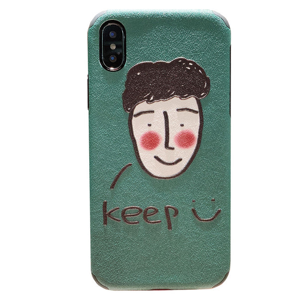 HELLO KEEP SMILE CUTIE FACE PRINT IPHONE APPLE PHONE CASE