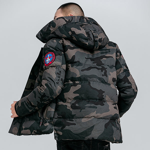 MOTTO DYNASTY BADGES CAMOUFLAGE PADDED HOODIE JACKET - boopdo