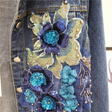 ZANY VENDOM RETRO STYLE HANDMADE LUXURY BEADED FLOWER DENIM JACKET WITH RHINESTONE - boopdo