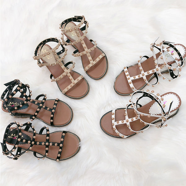 BOOPDO DESIGN WEDGE SANDALS WITH STUD DETAIL