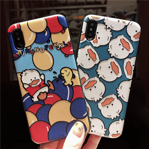 AHIRUNO PEKKLE BUBBLE DUCK EMBOSSED ANTI FALL IPHONE CASES
