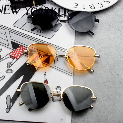 BOOPDO DESIGN POLYGONAL METAL CURVED SUNGLASSES
