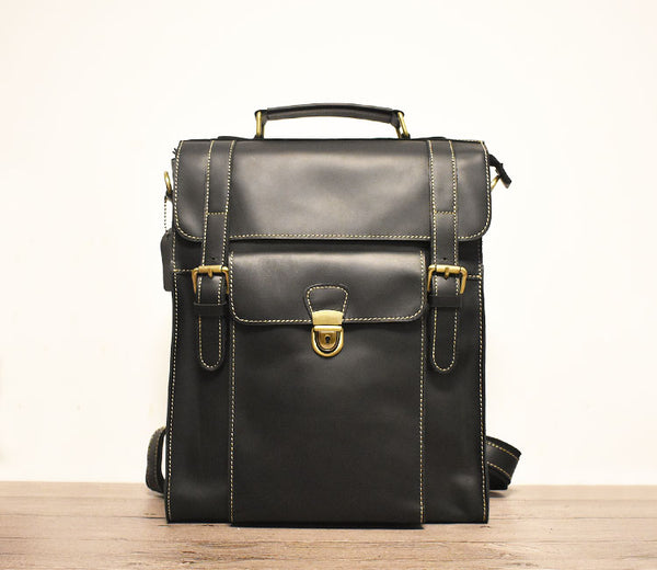 ZEFAN ZOXO DUAL USE MULTI FUNCTIONAL HANDMADE LEATHER BACKPACK BRIEFCASE - boopdo