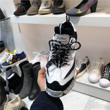 LUXE SEVEN DESIGN CHUNKY TRAINERS IN BLACK AND WHITE - boopdo