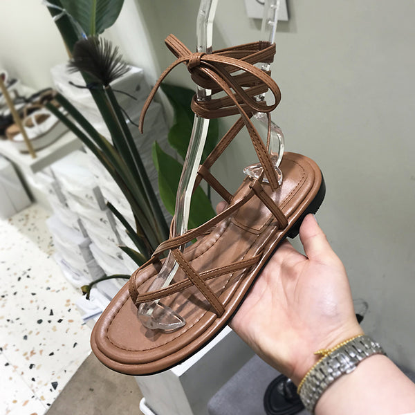 LUXE SEVEN DESIGN TOE LOOP SANDALS WITH TIE LEG - boopdo