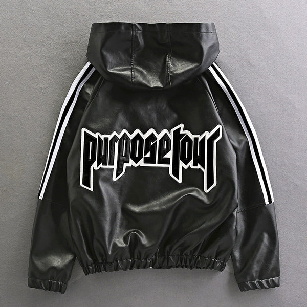 TJ PURPOSE TOUR HOODIE VELVET FAUX LEATHER JACKET