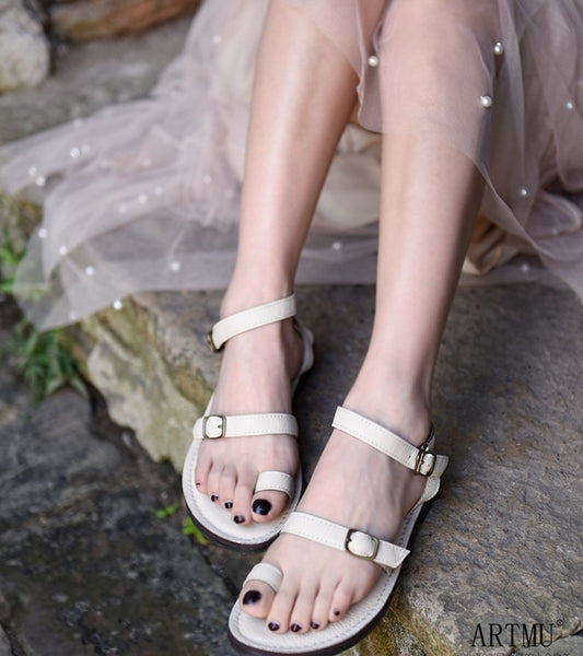 ARTMU LEATHER FLAT BUCKLE SANDALS - boopdo