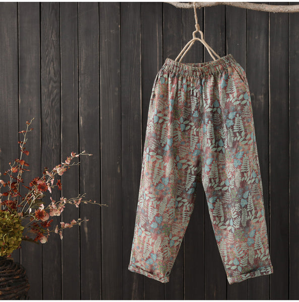 AUTUMN ORGANIC COTTON MIXED PRINT TROUSERS