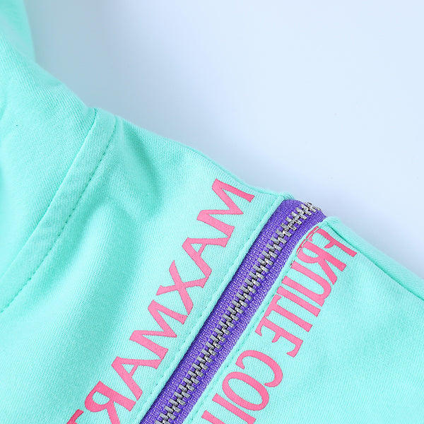 MAXMARTIN CROPPED HOODIE WITH LETTERS AND ZIP DETAIL - boopdo