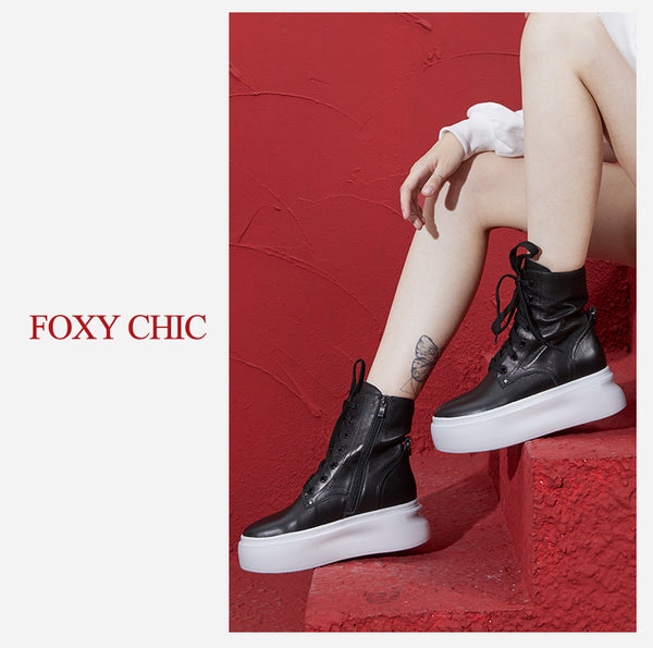 FOXY CHIC KAROLINA FREGOSO BRITISH DESIGN CHUNKY SOLE LEATHER WOMEN ANKLE BOOTS - boopdo