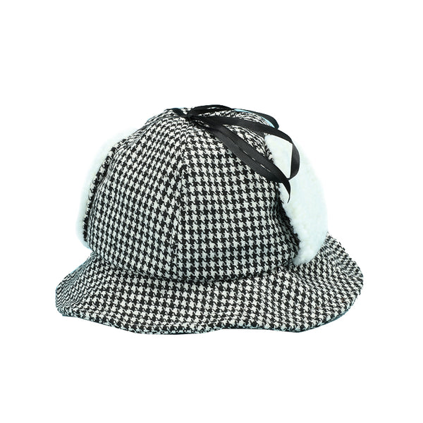 hounds tooth ear protection fisherman windproof belt cap