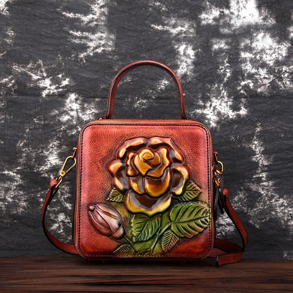 MACH MOMINS ZUMBO HANDMADE ROSE EMBOSSED LEATHER MESSENGER SQUARE BAGS - boopdo