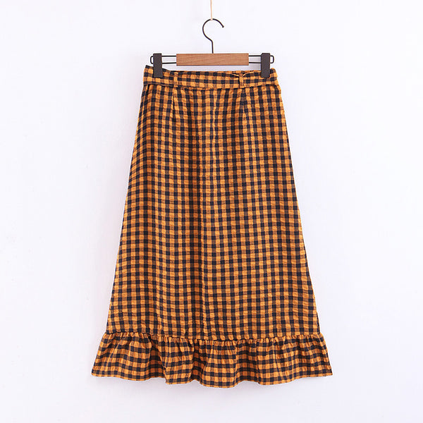 BOOPDO DESIGN VINTAGE PLAID HIGH WAIST OLD YARN SKIRT IN BROWN - boopdo