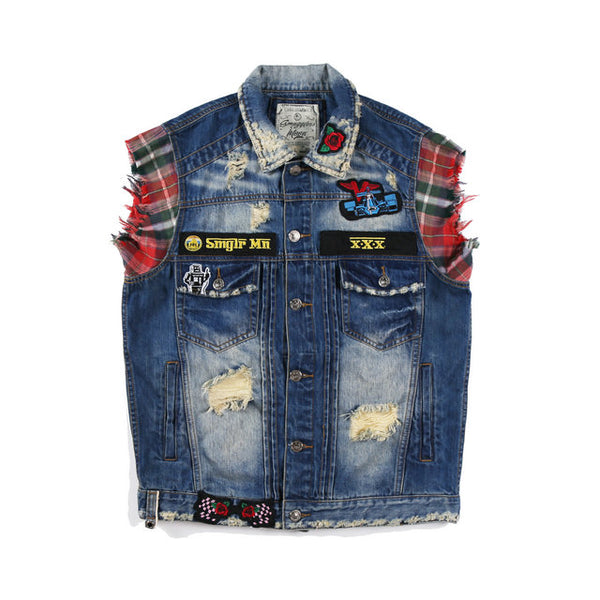 BOOPDO SMUGGLER MOONS PLAID EMBROIDERED DENIM VEST IN NAVY - boopdo