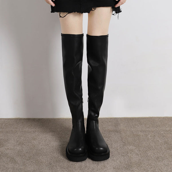 KIKI ANGLO CHUNKY PLATFORM OVER THE KNEE LEATHER BOOTS IN BLACK - boopdo