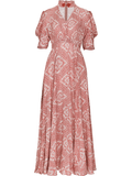 SINCE THEN HIGH NECK SCARF PRINT MAXI DRESS WITH CUT OUT FRONT DETAIL