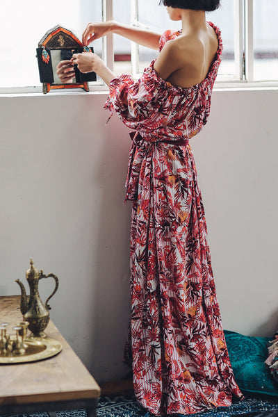 SINCE THEN OFF SHOULDER MAXI DRESS IN TROPICAL PRINT - boopdo