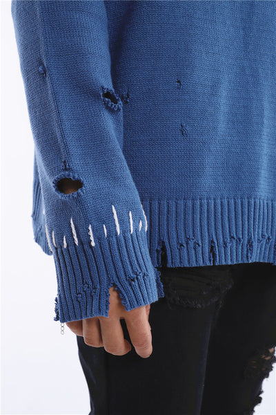 THE PLEXI RIPPED KNITWEAR CREW NECK SWEATER